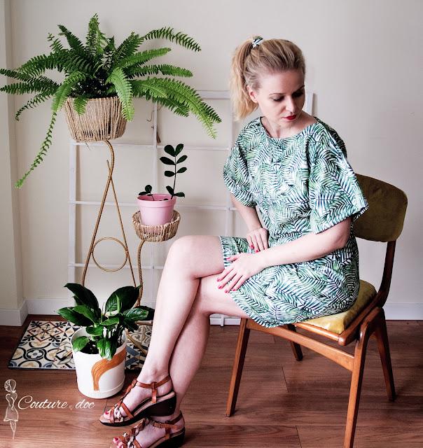 sukienka, dżungla, rośliny