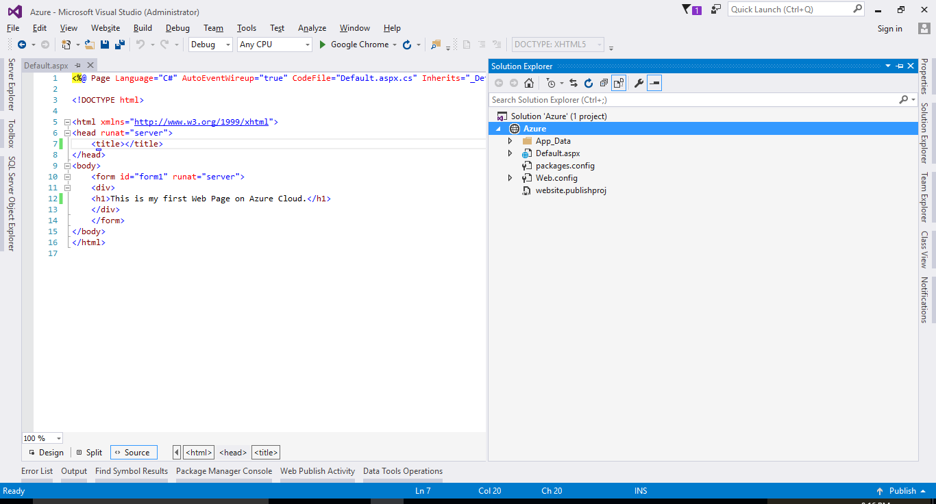 Azure with Visual Studio