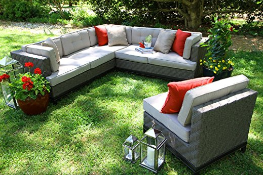 Outdoor Spaces. Outdoor Furniture, Outdoor Living, Outdoor sofa Sets, Outdoor Sectional Sets, AE Outdoor 4-Piece Camilla All Weather Wicker Sectional with Sunbrella Fabric