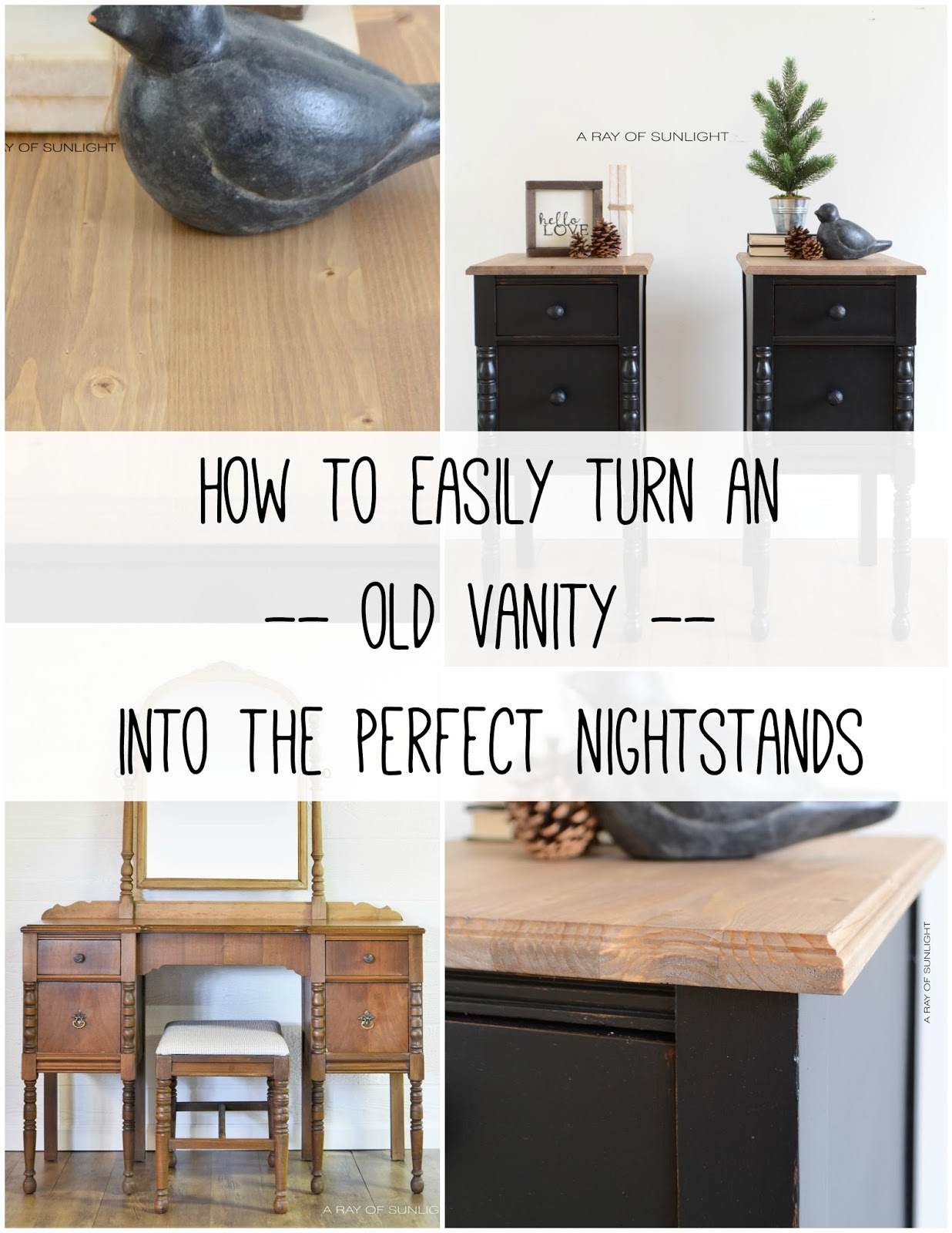How to easily turn a vanity into the perfect tall and skinny nightstands! These black vintage farmhouse nightstands with rustic tops are perfect! Made by A Ray of Sunlight in Country Chic Paint's Liquorice