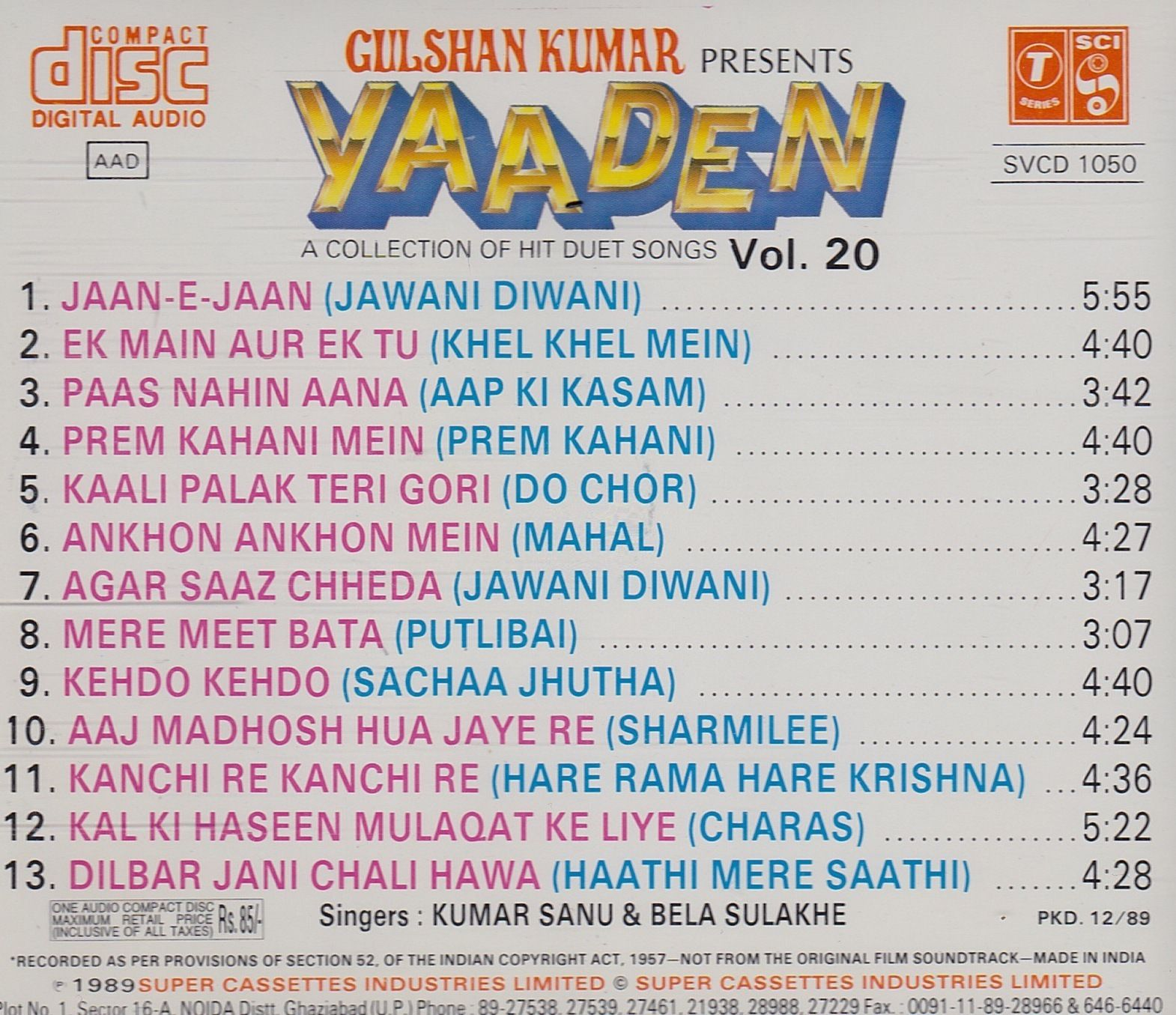 ONLY KUMAR SANU MP3 SONGS DOWNLOAD HERE: Yaaden Vol -20