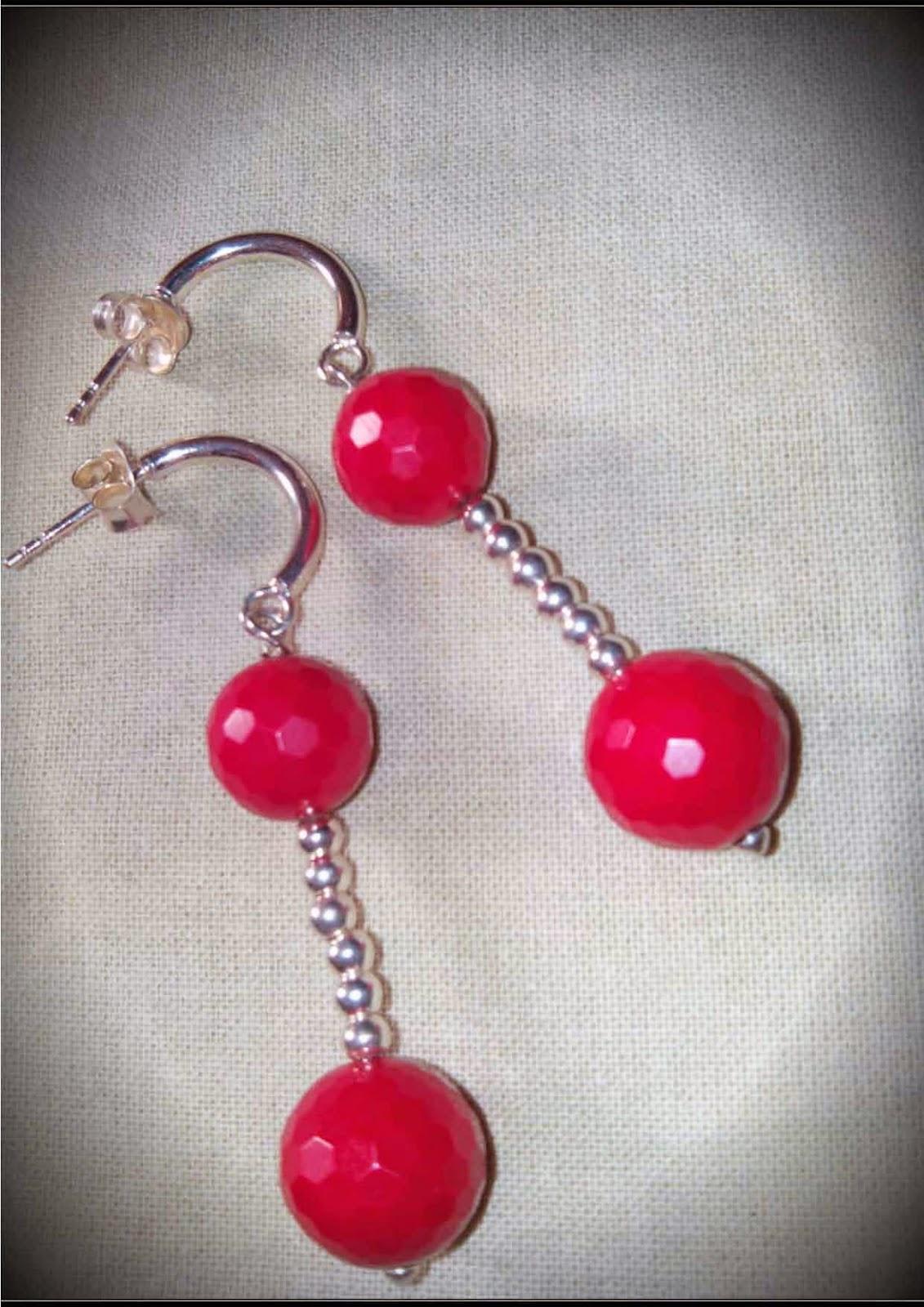 Pendientes plata semipreciosas coral rojo artesanales personalizados. Joyería