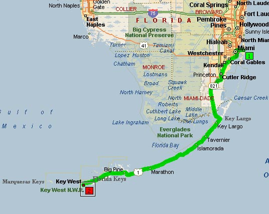 Mapa de Miami ruta Kes West