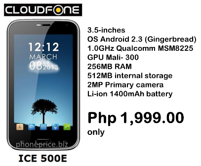 for cloudfone ice 350e