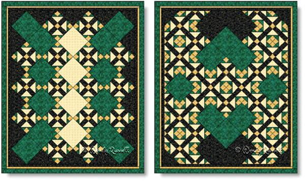 Quilts designed using the Grandmother's Choice quilt block - images © Wendy Russell