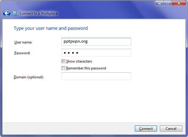 Type username and password