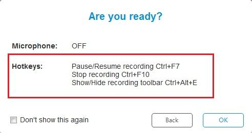 Setelah Sobat klik OK maka proses merekam layar sudah dimulai. Seperti pada tab Are You Ready tadi, jika Sobat ingin menyembunyikan dan menampilkan toolbar recording Sobat klik Ctrl+Alt+E. Jika Sobat ingin mempause atau menjeda proses perekaman, Sobat klik Ctrl+F7. Dan jika Sobat ingin mengakhiri proses perekaman, Sobat klik Ctrl+F10.