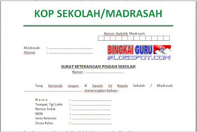 contoh surat pindah atau mutasi siswa di sekolah madrasah