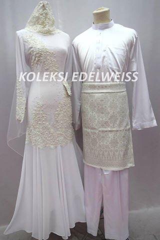 Set Baju Dress Nikah Putih Sedondon Muslimah