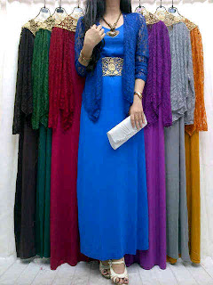 Gamis Spandex + Bolero Brokat fit to L