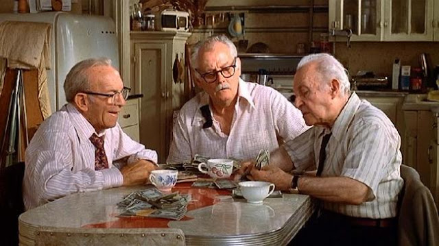 George Burns, Art Carney, et Lee Strasberg dans Going in Style, réalisé par Martin Brest (1979)