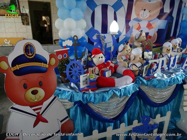 Mesa temática Ursinho Marinheiro para festa de aniversário de 1 ano