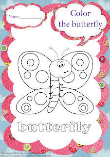 butterfly coloring for learning english
