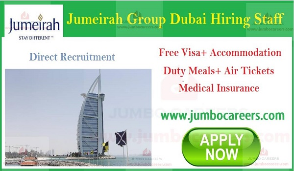 Jumeirah restaurant jobs with free visa and accommodation, Hotel jobs in Dubai,