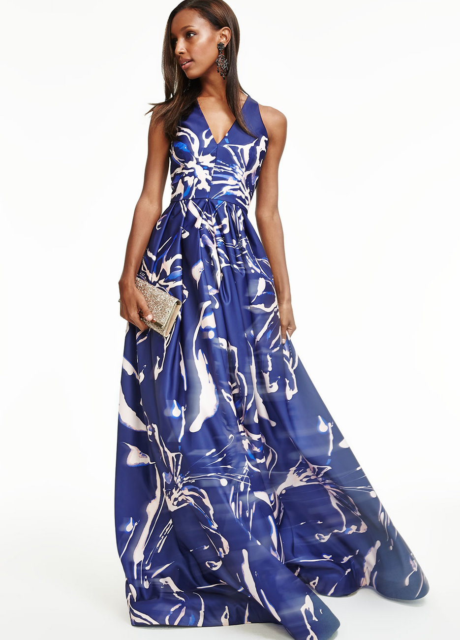 David Meister Sleeveless Floral-Print Ball Gown