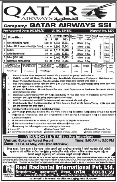 Jobs in Qatar Airways for Nepali candidates