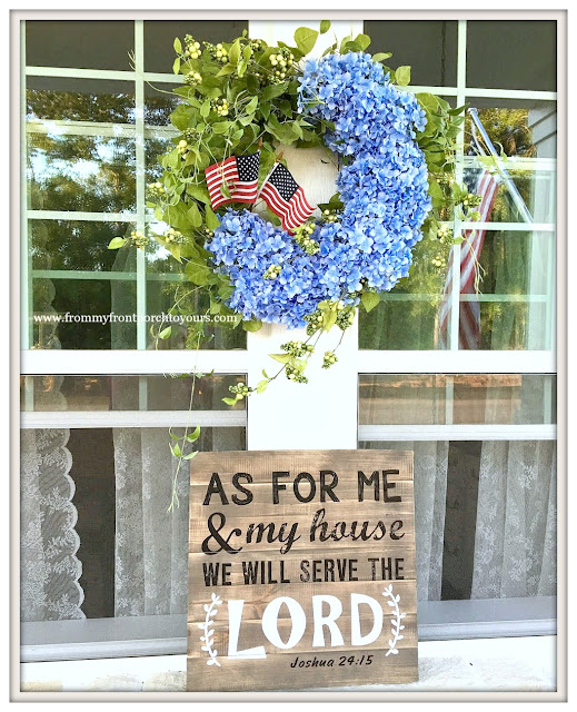 Hydrangea Wreath-Grandin Road-Patriotic-Porch-Farmhouse-Farmhouse Style--Front Porch-From My Front Porch To Yours