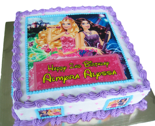 Birthday Cake Edible Image Barbie Princess and the Popstar