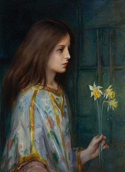 Young Girl Holding Daffodils