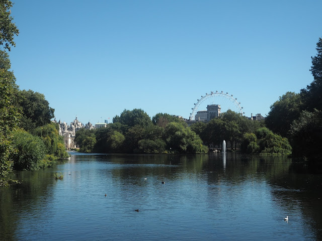 St James Park, London, view of London Eye