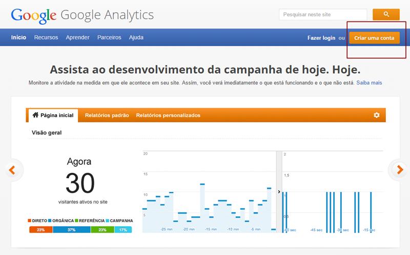 Como Criar conta no Google Analytics
