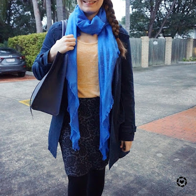 awayfromtheblue instagram office outfit winter colourful mustard and blue pencil skirt business casual