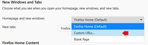 Firefox Homepage and new windows