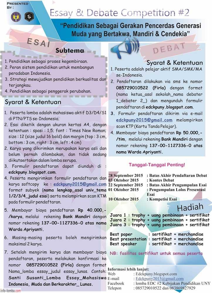 Edc Essay And Debate Competition 2 Tingkat Mahasiswa
