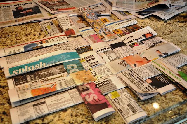 Manualidades con papel de periódico para hacer un mantel