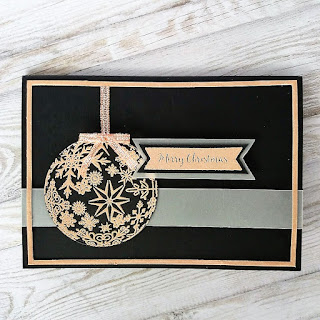 Christmas card with rose gold embossing powder