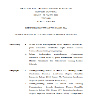 Permendikbud Nomor 75 Tahun 2016 tentang Komite Sekolah