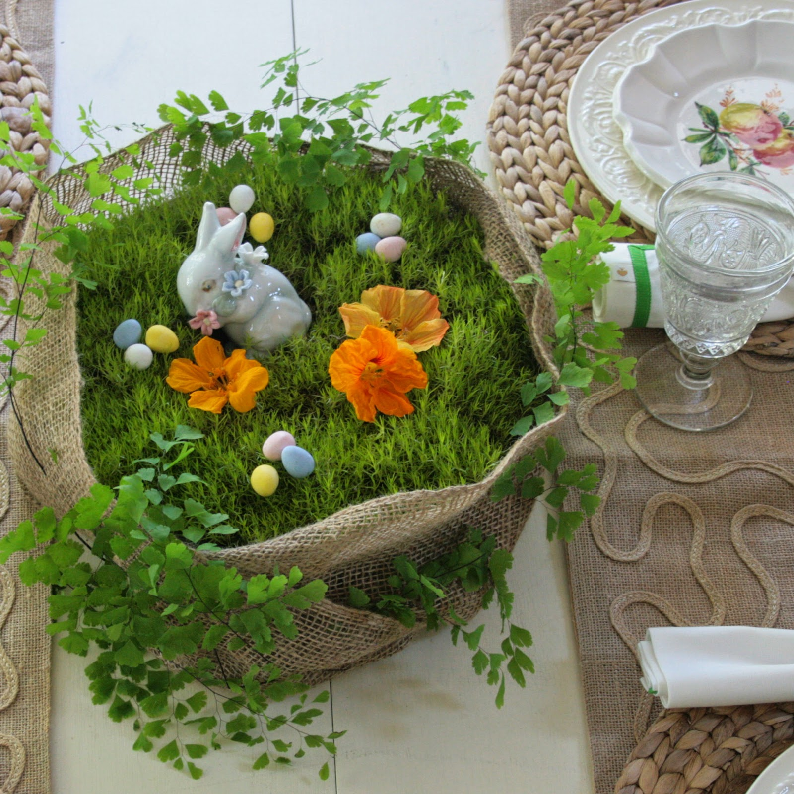 I Just Finished A Simple Moss And Fern Centerpiece For My Easter Table. My  Italian Fruit Dessert Plates Were My Starting Point For The Table, And I  Knew The ...