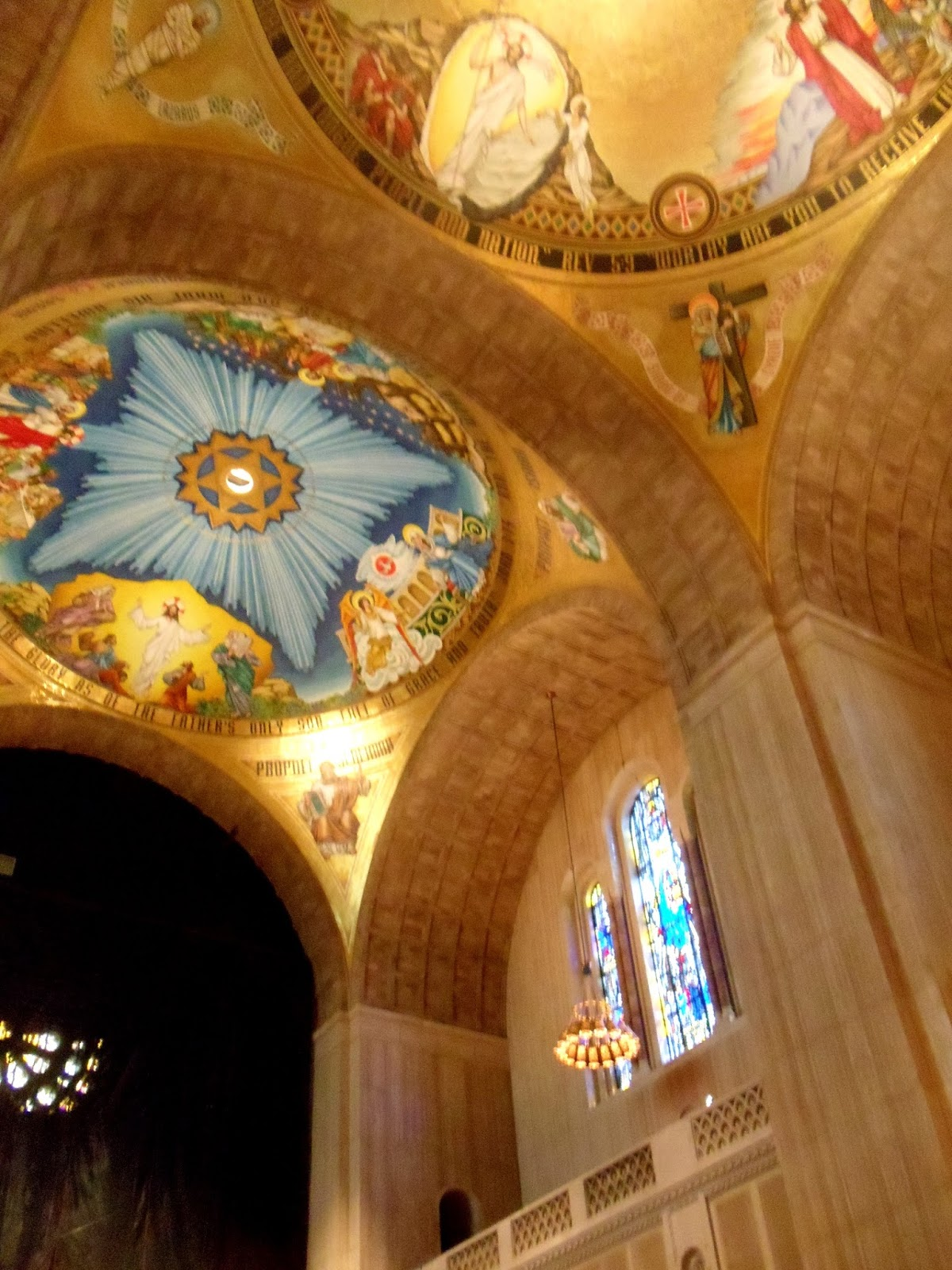 Looking up at the ceiling at the Basilica of the National Shrine of theImmaculate Conception