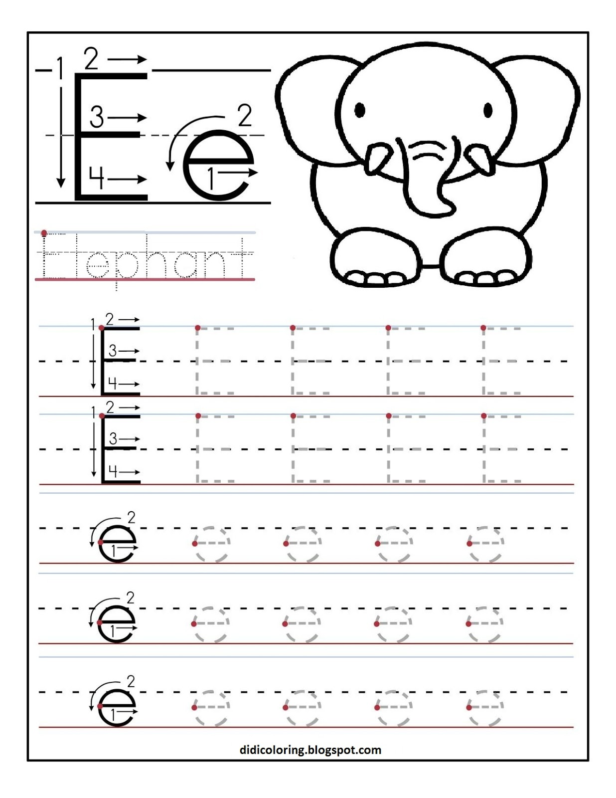 Free Printable Worksheet Letter E For Your Child To Learn And Write