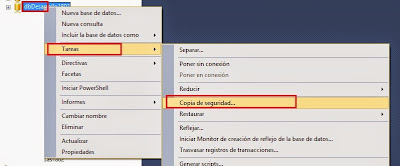 copia de seguridad de una base de datos SQL SERVER 2014