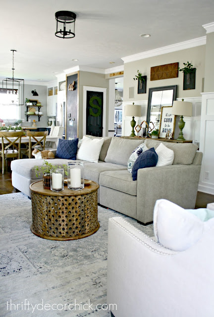 Open family room and kitchen layout