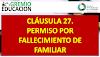 CLÁUSULA 27. PERMISO POR FALLECIMIENTO DE FAMILIAR