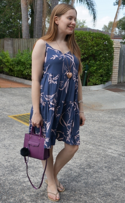 kmart strappy tiered sundress blue pink watercolour print with purple mini mab bag | awayfromblue