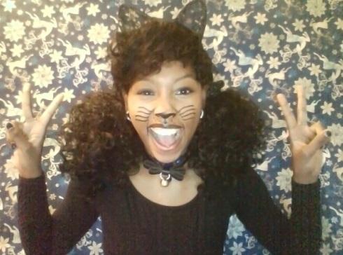 Kawaii cat cosplay Jasmine MinYe black girl makeup tutorial cute