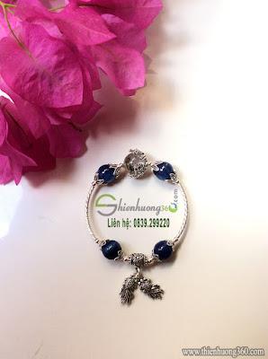 Vòng tay đá quý sapphire xanh kyanite bạc Thái 925