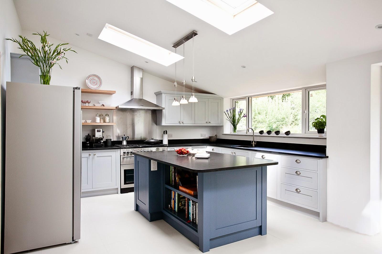 07 shaker kitchen island Blue Grey Kitchen