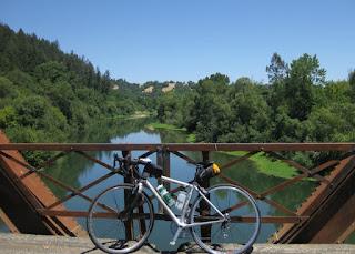pep's bike on the Wohler Bridge over the Russian River, Forestville, California