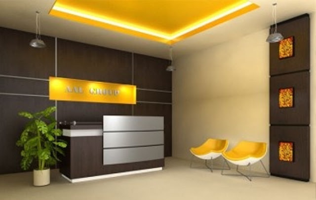 elegant office reception area design with small counter