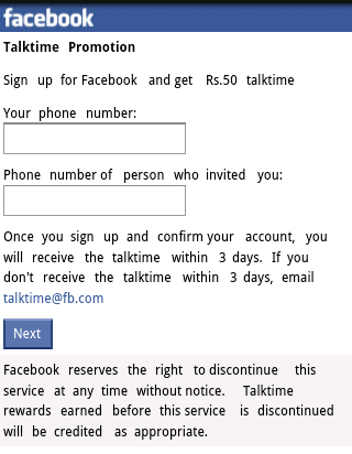 facebook free talktime offers