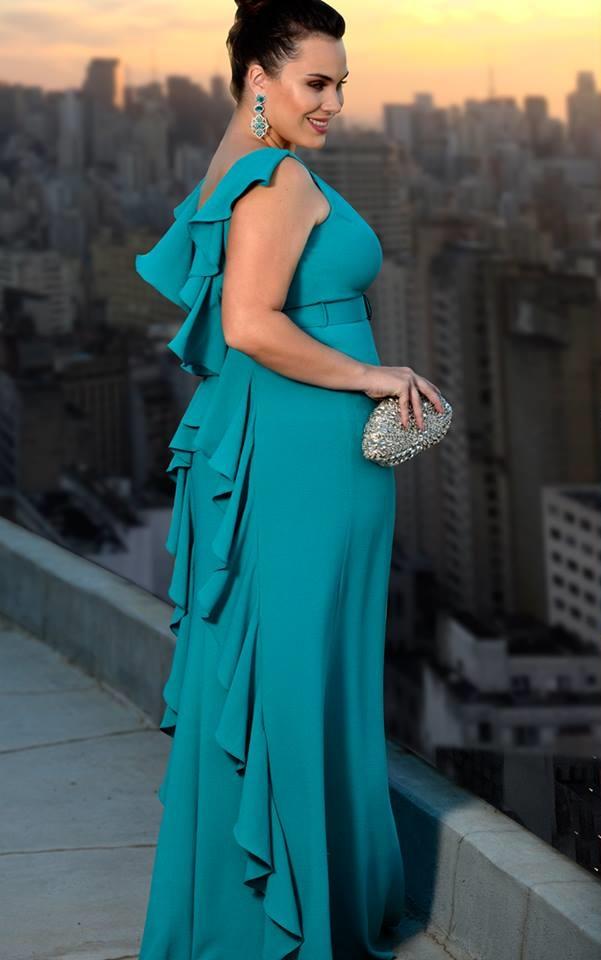 vestido de festa verde plus size