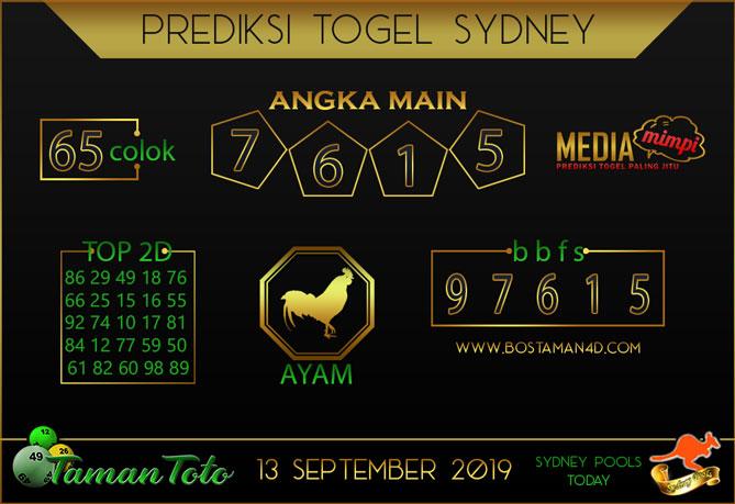 Prediksi Togel SYDNEY TAMAN TOTO 13 SEPTEMBER 2019