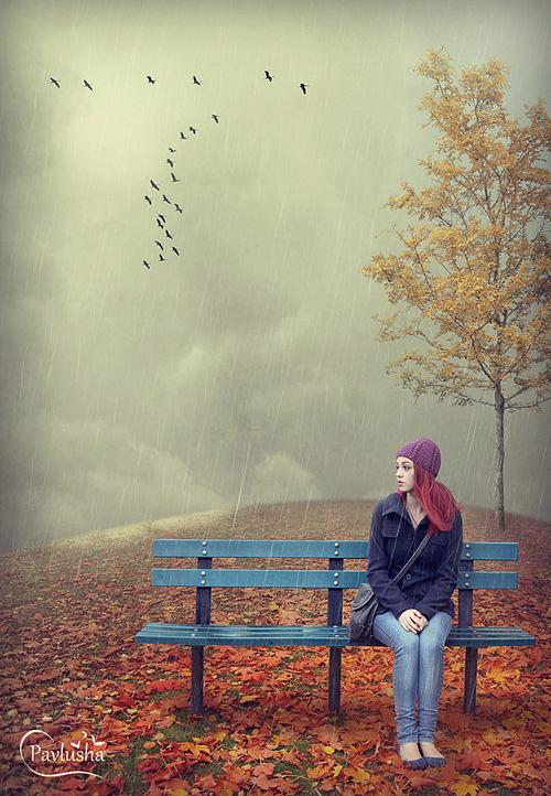 Осенняя картинка с девушкой в Фотошопе