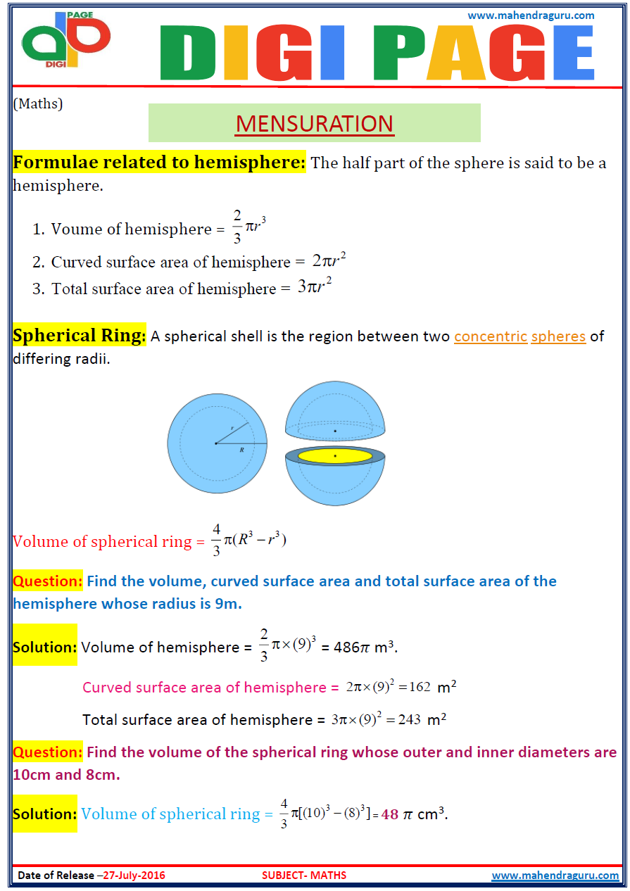 Find Radius Given Surface Area Of Sphere Maths Mensuration 20161212 Digi  Pagemensuration