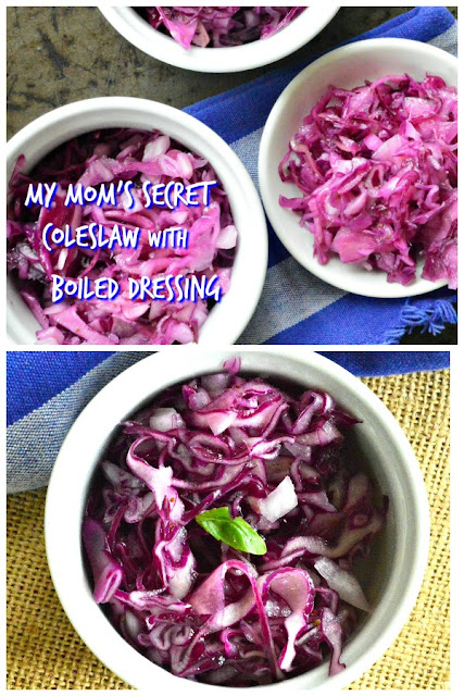 My Mom's Secret ColeSlaw recipe isn't a secret anymore! She always made it with purple cabbage and a simple 1 minute boiled dressing. Now you can have it whenever you want! #coleslaw #cabbage #salads #recipes For more fun recipes go to www.thisishowicook.com