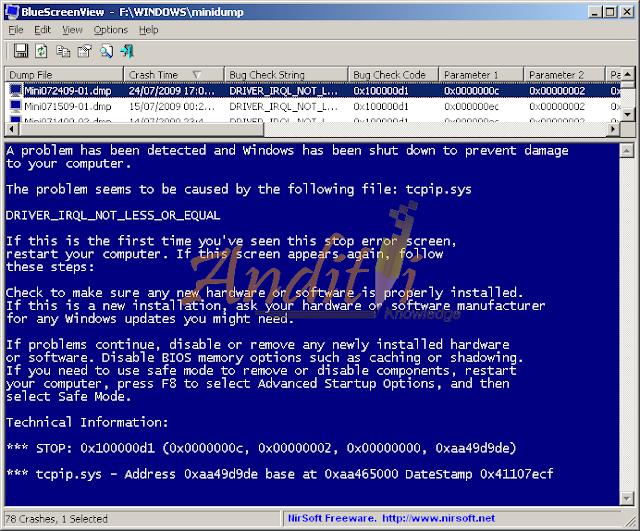 Cara Mendeteksi Permasalahan BlueScreen Degan Menggunakan BlueScreenView_anditii.web.id